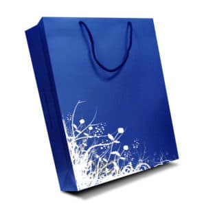 Luxury rope handle paper carrier bag. Luxury laminate paper bag with cord, rope or ribbon handles. Spot UV, embossing and gross grain handles available. Boutique style luxury paper bags. Printed luxury bags.
