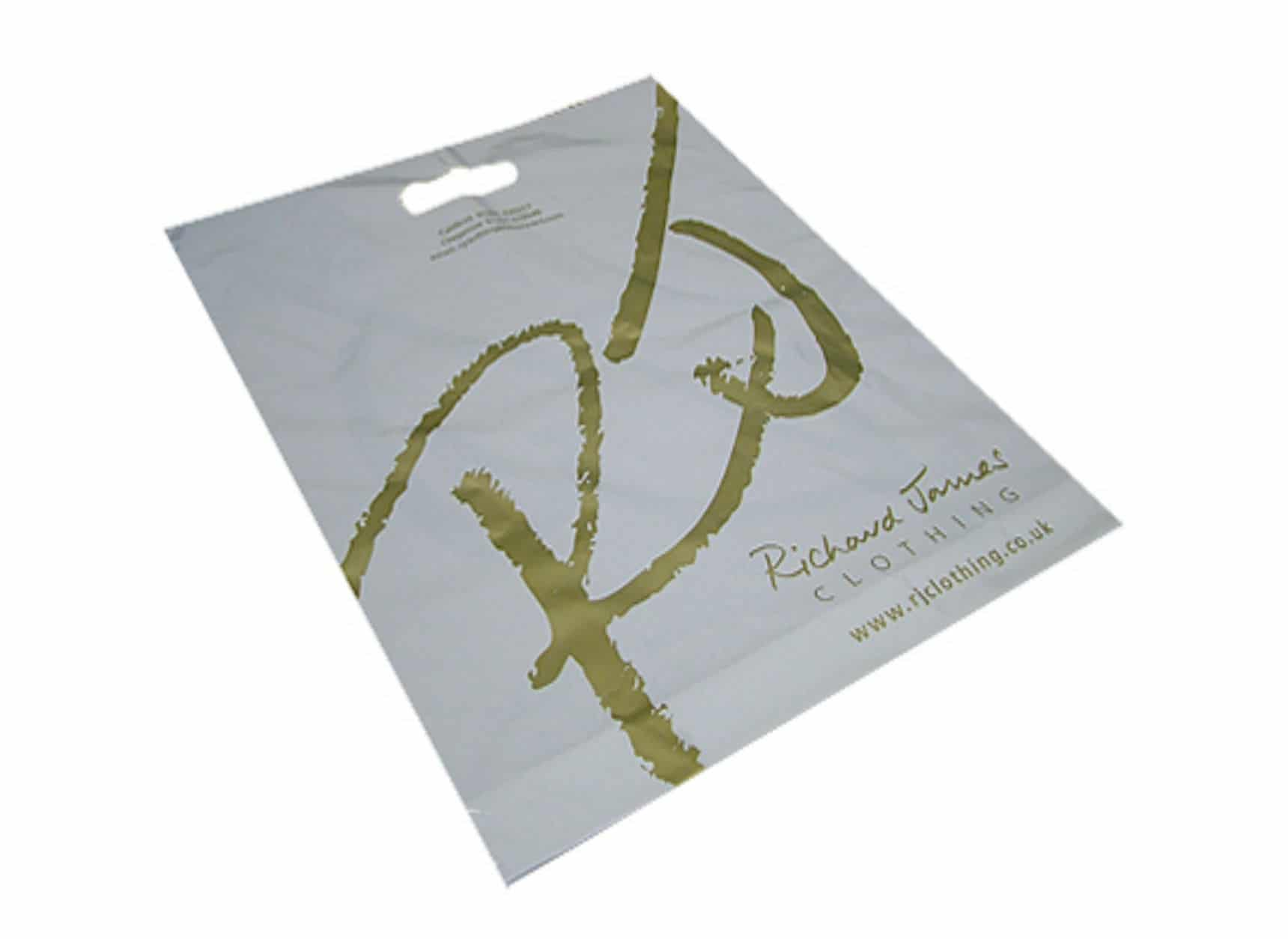 Printed polythene varigauge carrier bag