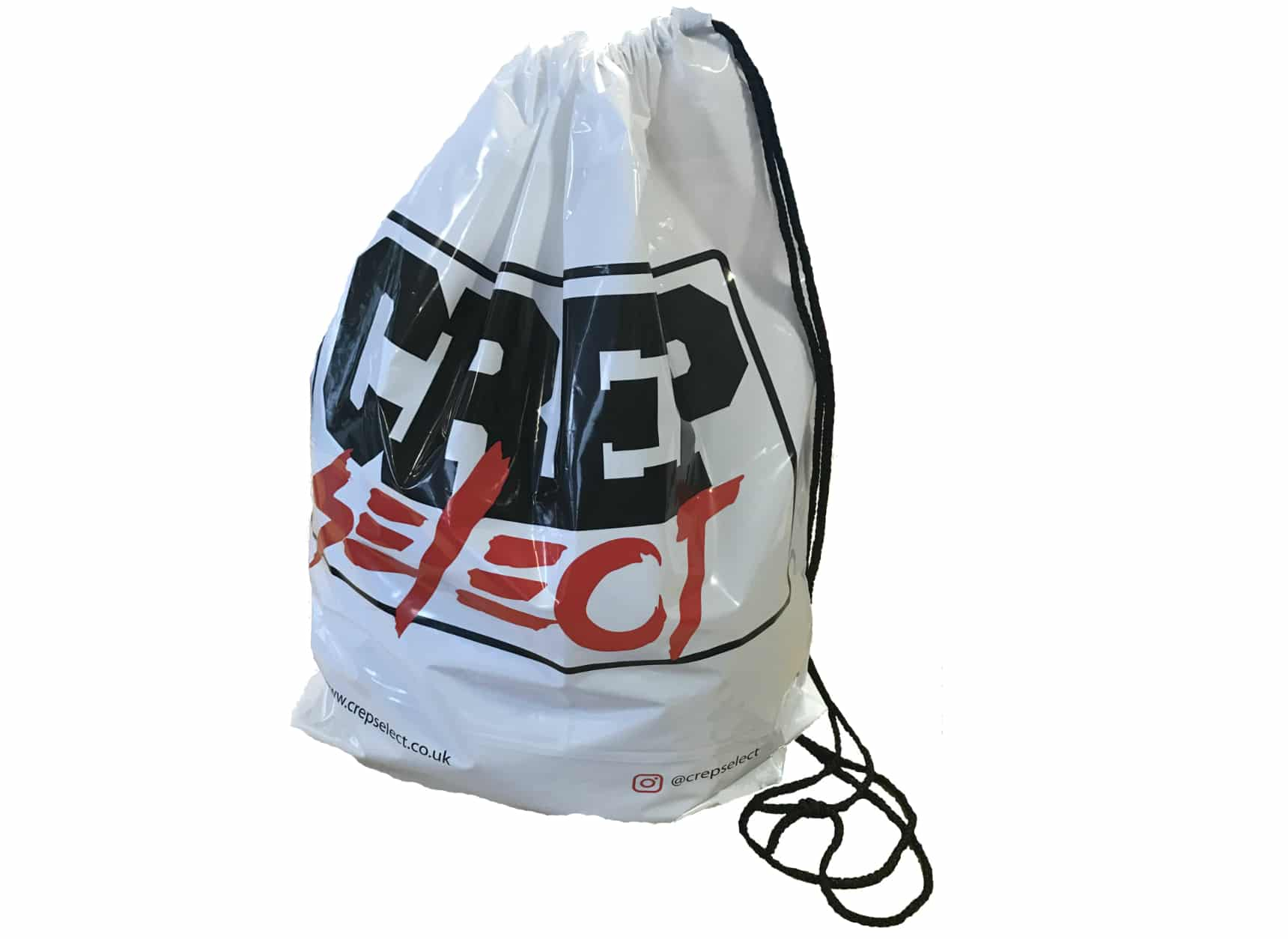 Polythene Duffle style carrier bag.