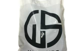 Flexiloop handle plastic polythene LDPE carrier bag. Printed polythene carrier bag.