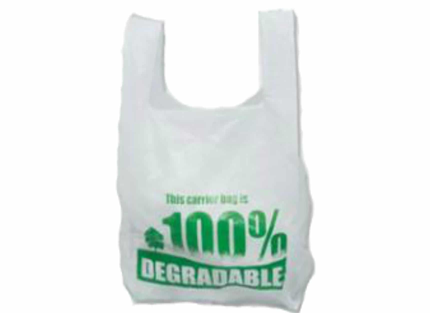 Printed HD vest style carrier bag.