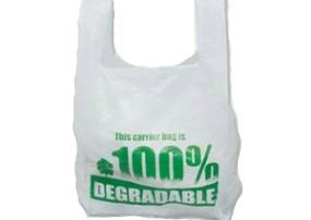 Vest style supermarket white HDPE HD plastic carrier bag.