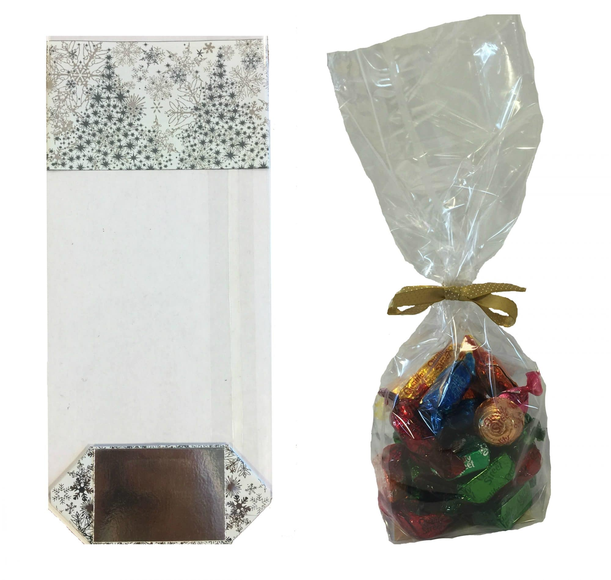 OPP block bottom bags. Custom printed or stock prints. Card base. Stand up card base clear confectionery bag. Food safe. Clear bag for sweets and confectionery. Can be printed with your design. Made from OPP Oriented polyprop.